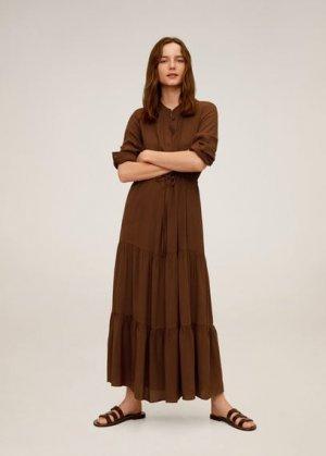 Длинное платье с воланами - Canyon Mango. Цвет: коричневый