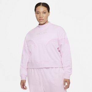 Женский флисовый свитшот с воротником-стойкой Air (большие размеры) - Розовый Nike