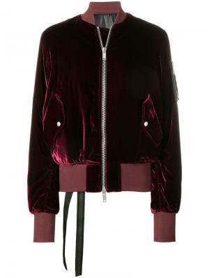 Приталенная бархатная куртка-бомбер Unravel Project. Цвет: красный