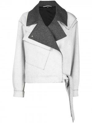 Байкерская куртка с контрастным воротником MCQ. Цвет: серый