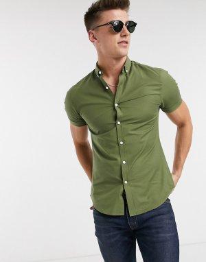 Оксфордская обтягивающая рубашка хаки с короткими рукавами -Зеленый New Look