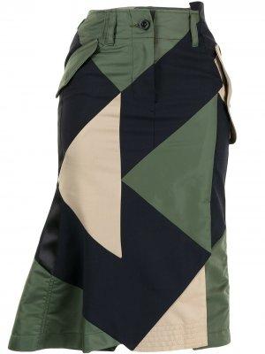 Юбка миди с геометричными вставками Sacai. Цвет: синий