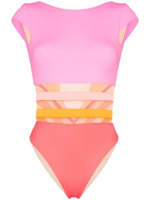 Слитный купальник Zenaya с короткими рукавами Agent Provocateur. Цвет: розовый