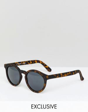 Круглые солнцезащитные очки в черепаховой оправе inspired Reclaimed Vintage. Цвет: коричневый
