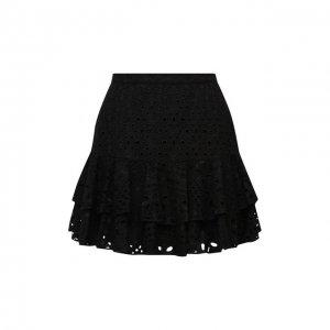 Хлопковая юбка Charo Ruiz Ibiza. Цвет: чёрный