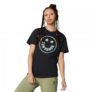 Womens Happy Camper Smiley Relaxed Tee Converse. Цвет: чёрный