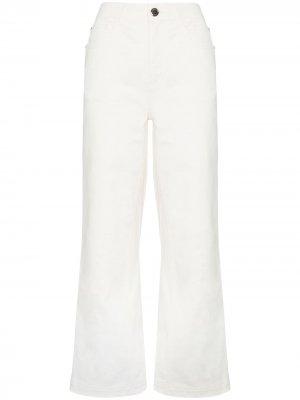 Укороченные широкие джинсы Fendi. Цвет: белый