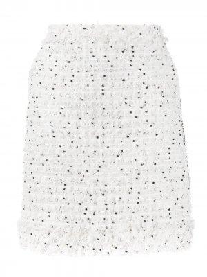 Юбка букле с бахромой Karl Lagerfeld. Цвет: белый