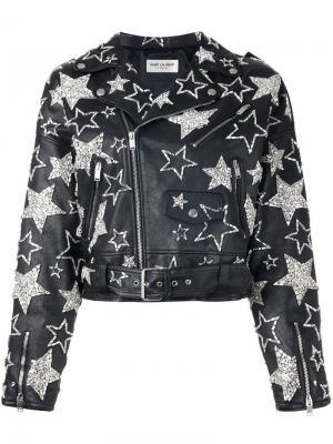 Кожаная куртка декорированная звездами Saint Laurent. Цвет: чёрный