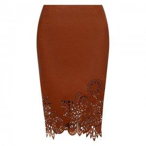 Кожаная юбка Dries Van Noten. Цвет: коричневый