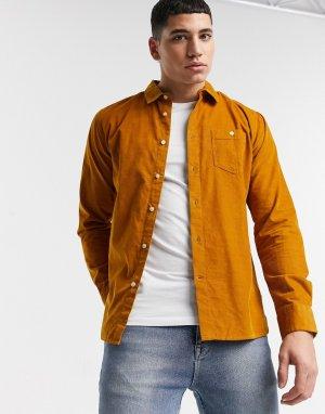 Вельветовая рубашка горчичного цвета из органического хлопка -Желтый Knowledge Cotton Apparel