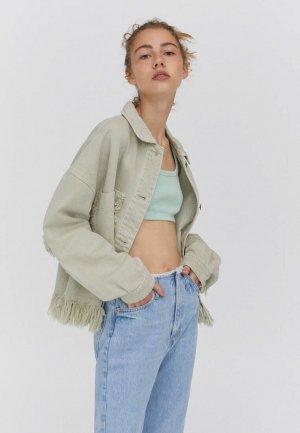 Куртка джинсовая Pull&Bear. Цвет: зеленый