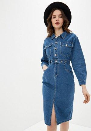 Платье джинсовое Miss Gabby. Цвет: синий