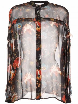 Floral-print buttoned blouse 8pm. Цвет: черный