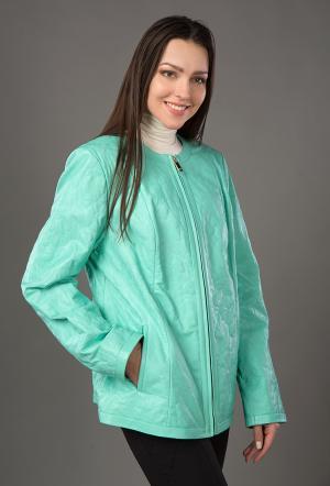 Весенняя куртка большого размера из кожи для женщин VESUTTI. Цвет: бирюзовый