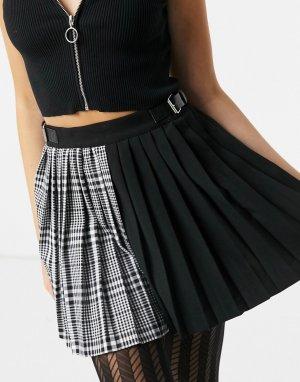 Черная плиссированная теннисная мини-юбка в клетку с расцветкой внахлест -Черный Bershka