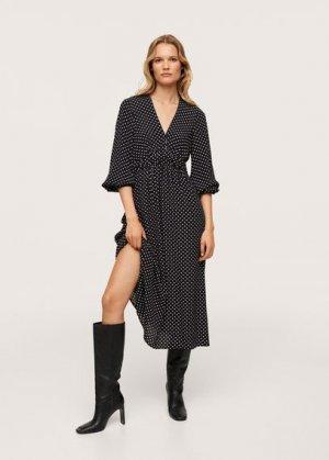 Миди-платье с принтом - Rose Mango. Цвет: черный