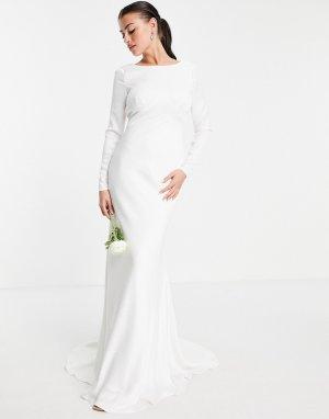 Атласное свадебное платье с длинными рукавами и декоративными швами Camilla-Белый ASOS EDITION