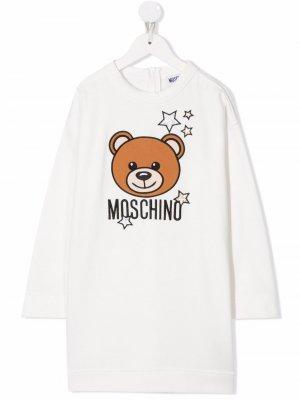 Starry Teddy Bear dress Moschino Kids. Цвет: белый