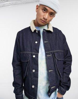 Темно-синяя джинсовая куртка с воротником из искусственной цигейки -Синий Vintage Supply