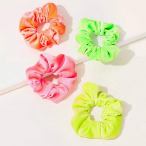 Простые резинки для волос 4шт SHEIN. Цвет: многоцветный
