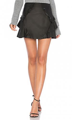 Кожаная мини юбка с рюшами DEREK LAM 10 CROSBY. Цвет: черный