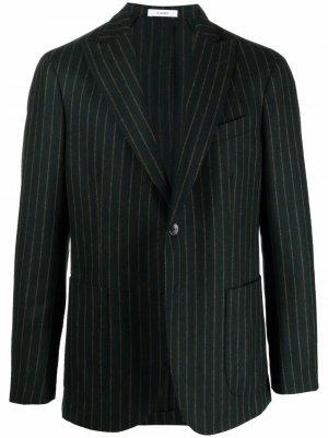 Однобортный пиджак в тонкую полоску Boglioli. Цвет: зеленый