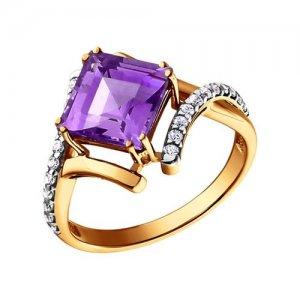 Золотой перстень с аметистом SOKOLOV