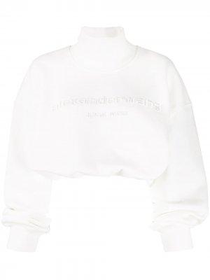 Укороченный джемпер оверсайз с логотипом Alexander Wang. Цвет: белый
