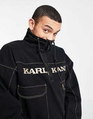 Выбеленная черная ветровка в винтажном стиле -Черный Karl Kani