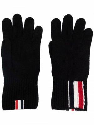 Шерстяные перчатки с полосками RWB Thom Browne. Цвет: черный