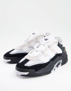 Белые с черным кроссовки adidas Originals Niteball-Черный цвет