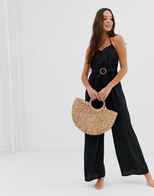 Черный пляжный комбинезон Fashion Union