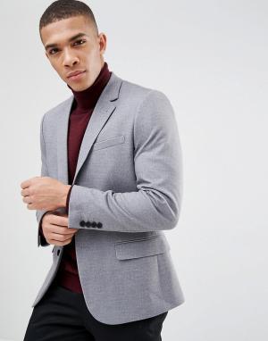 Серый приталенный блейзер в крапинку New Look. Цвет: серый