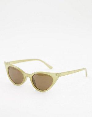 Зеленые женские солнцезащитные очки «кошачий глаз» с затемненными стеклами -Зеленый цвет Jeepers Peepers