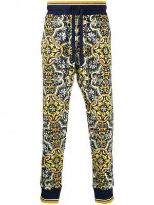 Спортивные брюки с принтом Maiolica Dolce & Gabbana. Цвет: синий