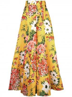 Расклешенные брюки с цветочным принтом Carolina Herrera. Цвет: желтый
