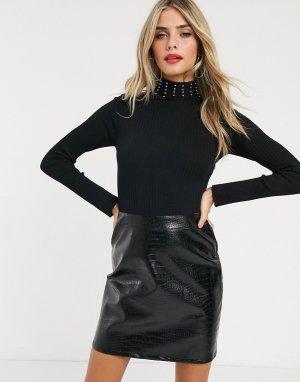 Черное платье 2 в 1 с юбкой из искусственной крокодиловой кожи -Черный Lipsy