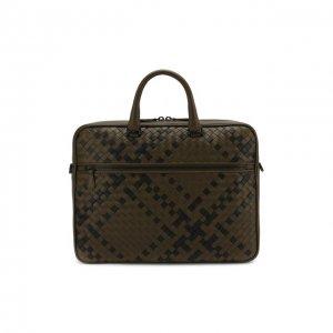 Кожаная сумка для ноутбука Bottega Veneta. Цвет: хаки
