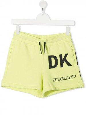 Спортивные шорты с логотипом Dkny Kids. Цвет: зеленый