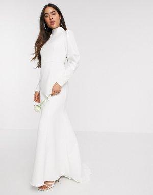Белое свадебное платье с годе, декорированными манжетами и высоким воротником -Белый Y.A.S