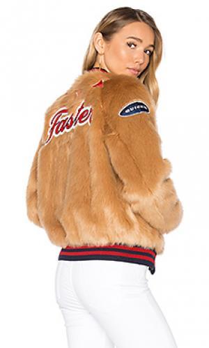 Letterman patch faux fur jacket MOTHER. Цвет: коричневый
