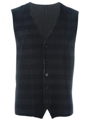 Полосатый плиссированный жилет Homme Plissé Issey Miyake. Цвет: синий