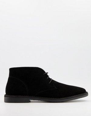 Черные замшевые дезерты -Черный цвет ASOS DESIGN