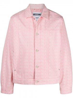 Джинсовая куртка с логотипом из коллаборации Palace Moschino. Цвет: розовый