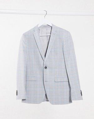 Зауженный пиджак в голубую и серую клетку -Серый Esprit