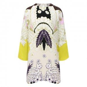 Шелковое платье Valentino. Цвет: разноцветный