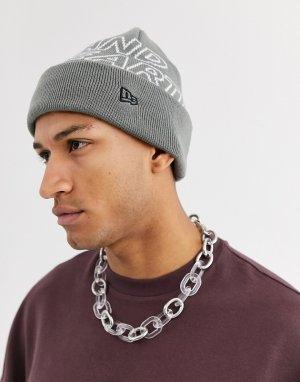 Серая шапка-бини с логотипом AAPE By A Bathing Ape. Цвет: серый