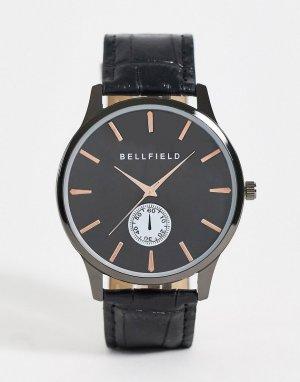 Мужские часы черного цвета -Серебристый Bellfield