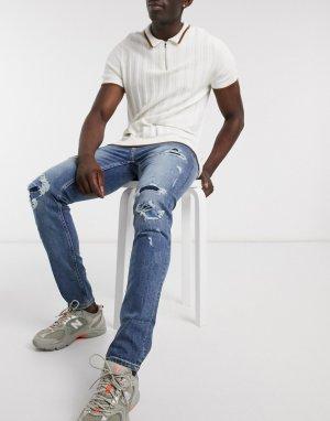 Синие выбеленные джинсы скинни с рваной отделкой и заплатками -Голубой Topman
